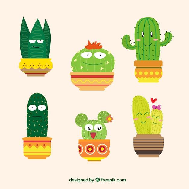 Lustige kaktus sammlung Kostenlosen Vektoren