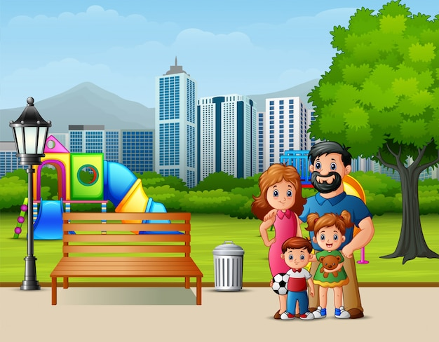 Lustige karikaturfamilie im stadtpark Premium Vektoren