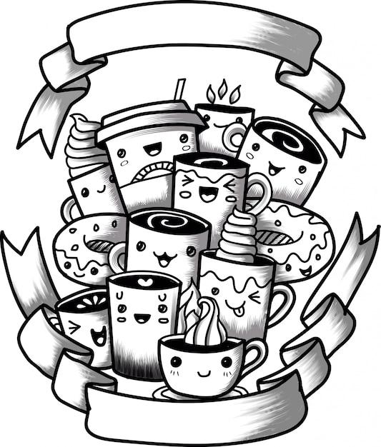 Lustige karikaturgekritzel-kaffeetasse Premium Vektoren