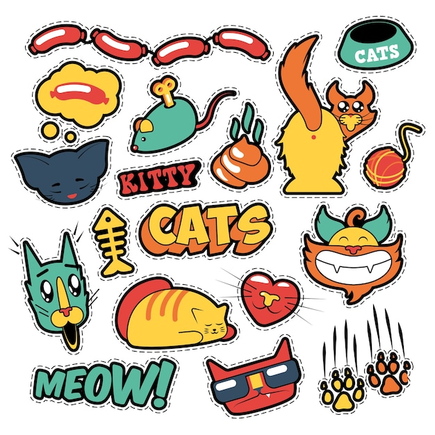 Lustige katzenabzeichen, aufnäher, aufkleber - katzenfischkupplungen im comic-stil. gekritzel Premium Vektoren