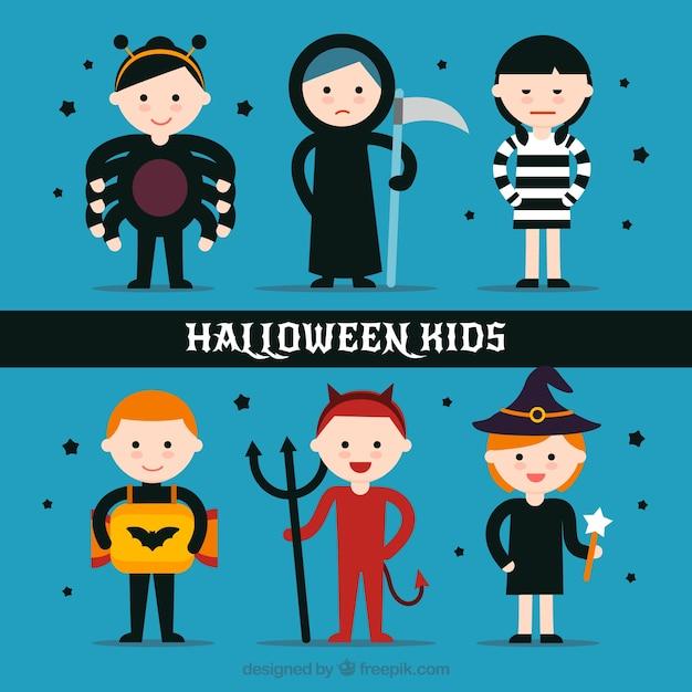 lustige kinder mit halloween kost me in flachen stil. Black Bedroom Furniture Sets. Home Design Ideas