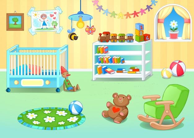 Lustige Kinderzimmer Mit Spielzeug Vektor Cartoon Illustration Kostenlose Vektoren