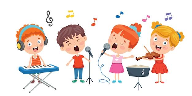 Lustige kleine kinder, die musik spielen Premium Vektoren
