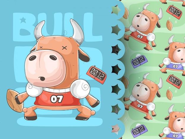 Lustige kuh mit ball, sportmuster Premium Vektoren