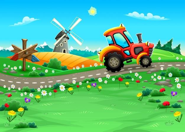 Lustige landschaft mit traktor auf der straße cartoon vektor-illustration Kostenlosen Vektoren