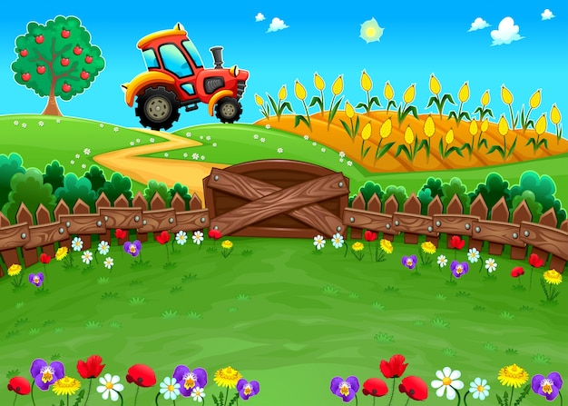 Lustige landschaft mit traktor und kornfeld cartoon vektor-illustration Kostenlosen Vektoren