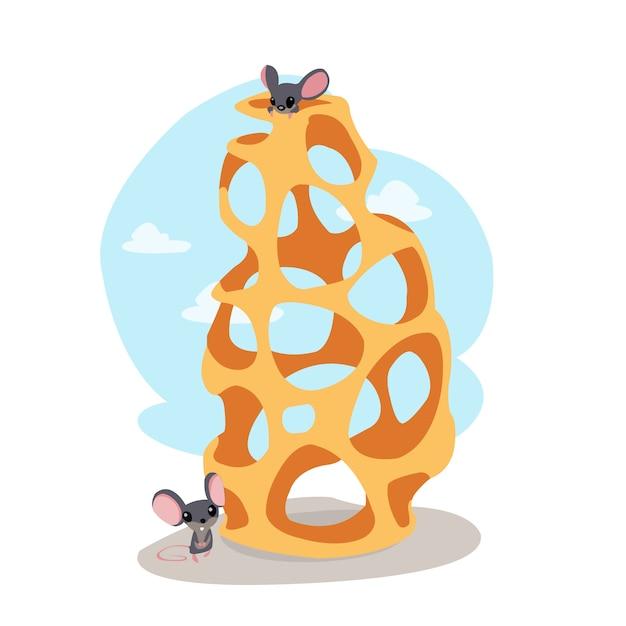 Lustige maus essen käse Kostenlosen Vektoren