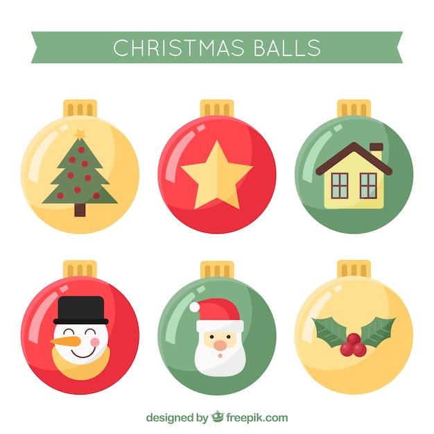 Lustige Weihnachtskugeln.Lustige Packung Mit Weihnachtskugeln Im Flachen Design Download