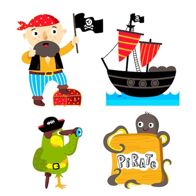 Lustige piratenelemente lokalisiert Premium Vektoren