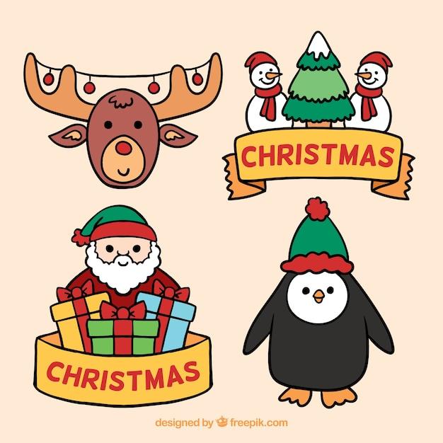 Lustige reihe von weihnachten elemente Kostenlosen Vektoren