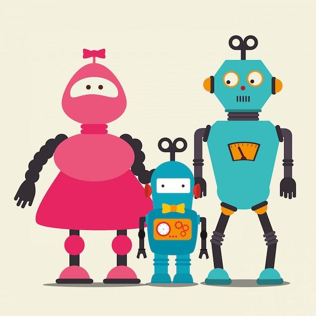Lustige roboterkarikatur Kostenlosen Vektoren