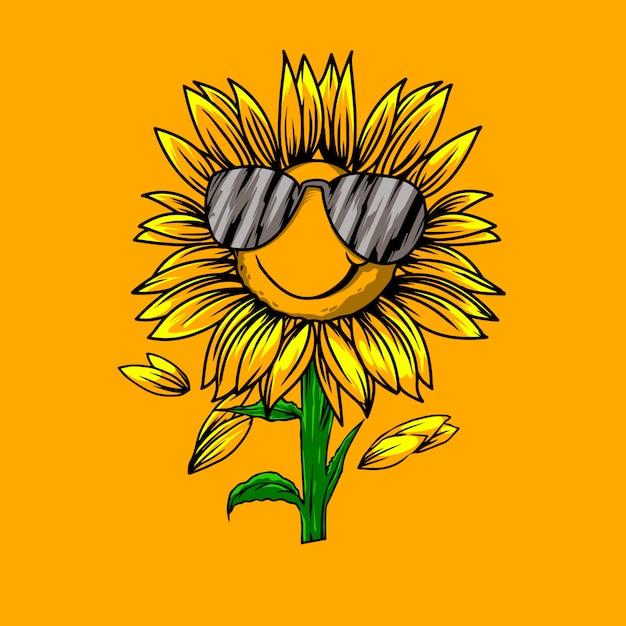 Lustige sonnenblumenillustration Premium Vektoren