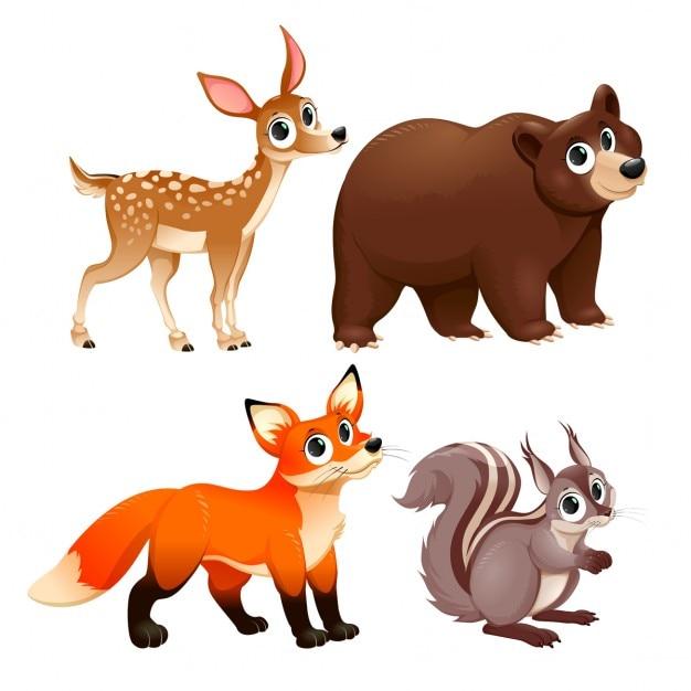 Lustige tiere der holz deer braunbär fuchs und eichhörnchen vector cartoon isoliert zeichen Kostenlosen Vektoren