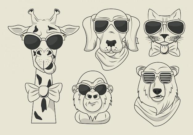 Lustige tiere mit sonnenbrille coolen stil Premium Vektoren