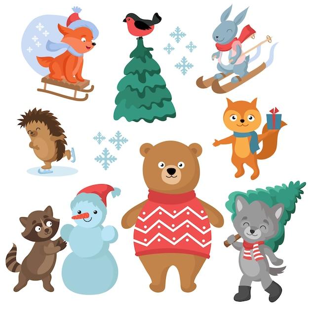 Lustige tiervektorsammlung des weihnachts- und winterurlaubs Premium Vektoren