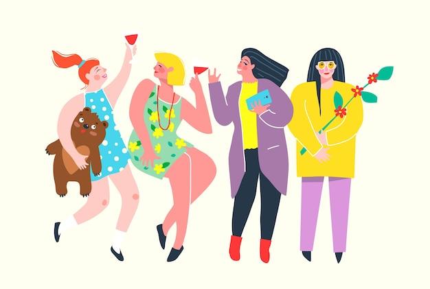 Lustige und bunte freundinnen feiern, trinken wein, plaudern. girl power gruppe von charakteren, die spaß haben. . Premium Vektoren