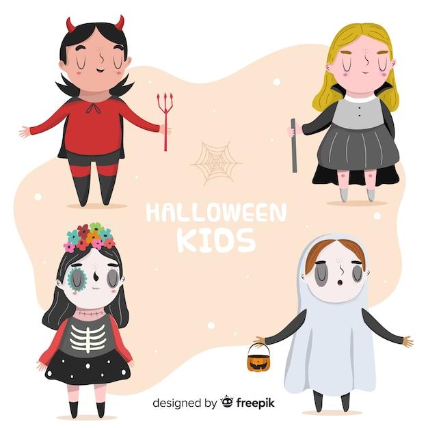 Lustige und nette halloween-karnevalskinder eingestellt Kostenlosen Vektoren