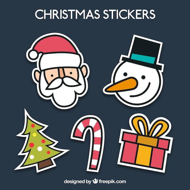 Lustige weihnachts stikers Kostenlosen Vektoren