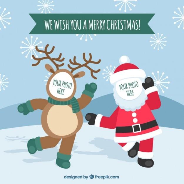 Lustige Weihnachtswünsche Kostenlos.Lustige Weihnachtsgrüße Fotoschablone Download Der Kostenlosen Vektor