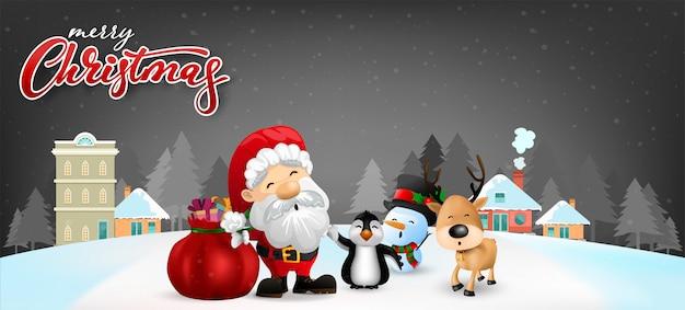 Lustige weihnachtsgrußkarte Premium Vektoren