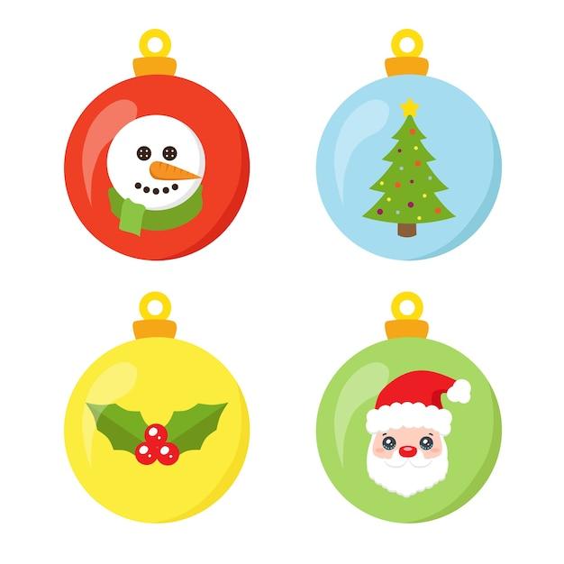 Lustige weihnachtskugelsammlung lokalisiert auf weiß Premium Vektoren