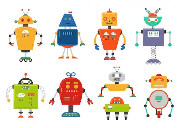 Lustige zukunft isoliert roboterset Premium Vektoren