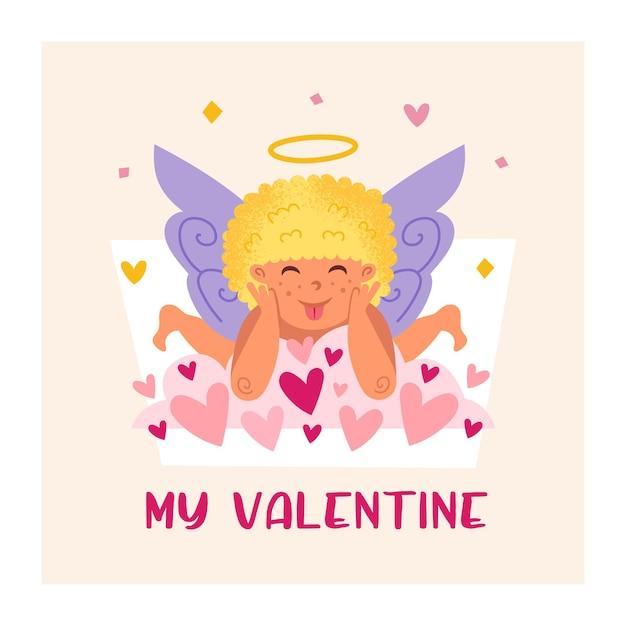 Lustiger amor mit heiligenschein. engel, kind. baby. grußkartenentwurf zum valentinstag. Premium Vektoren