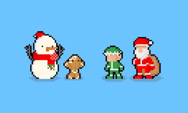 Lustiger charakter der pixelkunst-karikatur weihnachts. 8 bit. Premium Vektoren