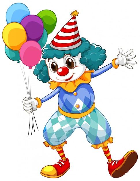 Lustiger clown mit bunten luftballons und großen schuhen Premium Vektoren