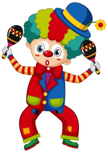 Lustiger clown mit rüttlern in seinen händen Kostenlosen Vektoren