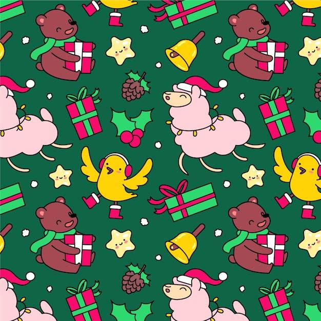 Lustiger dekorationsweihnachtsmusterhintergrund Kostenlosen Vektoren