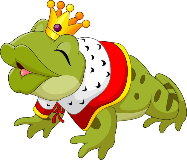 Lustiger froschkönig der karikatur lokalisiert auf weißem hintergrund Premium Vektoren