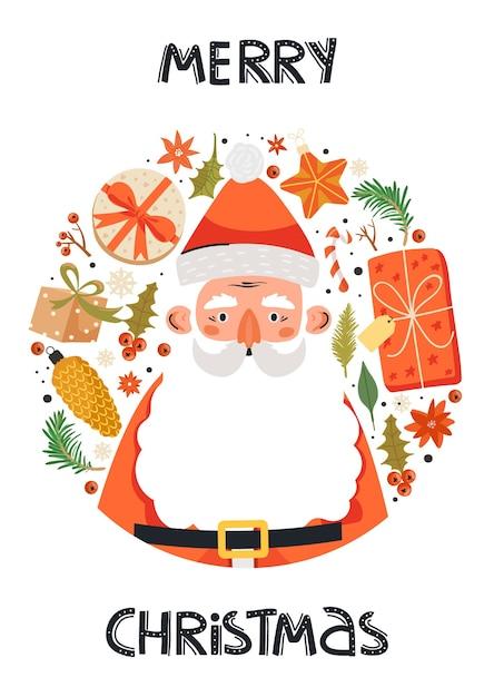 Lustiger glücklicher weihnachtsmanncharakter. Premium Vektoren