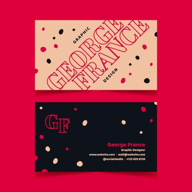 Lustiger grafikdesigner-visitenkarteschablonensatz Kostenlosen Vektoren