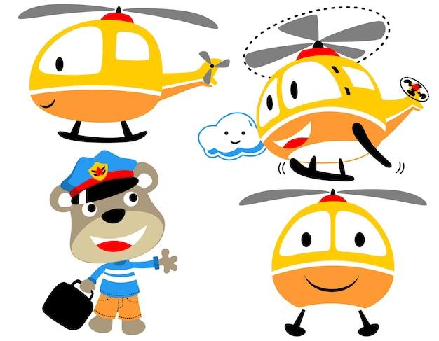Lustiger hubschrauber-cartoon mit kleinem piloten Premium Vektoren