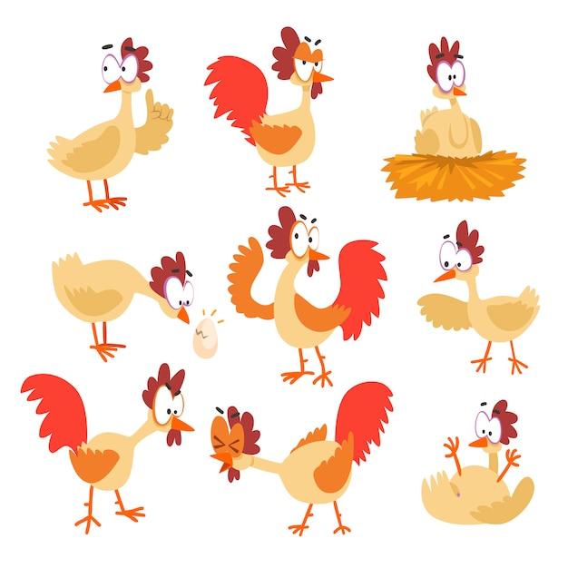Lustiger hühnersatz, komische zeichentrickfilm-vogelcharaktere in den verschiedenen haltungen und gefühlillustrationen. Premium Vektoren