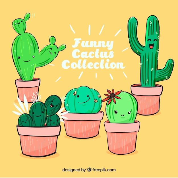 lustiger kaktus mit handgezeichneten stil download der kostenlosen vektor. Black Bedroom Furniture Sets. Home Design Ideas