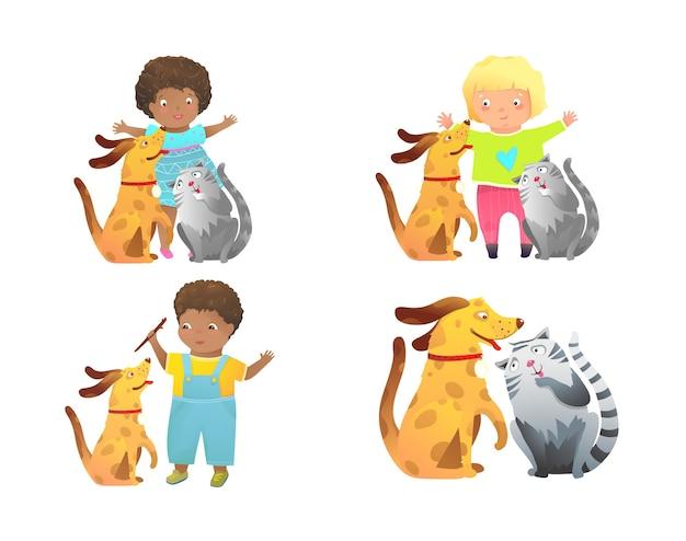 Lustiger kindlicher cartoon mit zwei vorschulkindern und ihren haustieren. Premium Vektoren