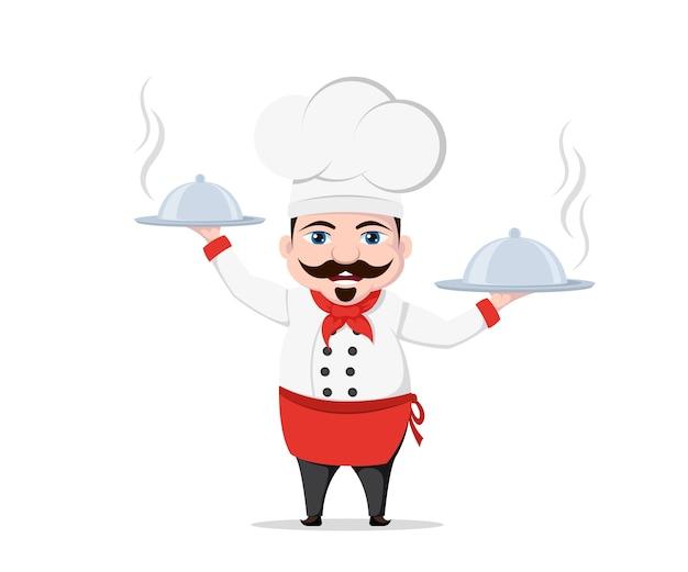 Lustiger kochcharakter mit zwei köstlichen gerichten auf weißem hintergrund. Premium Vektoren