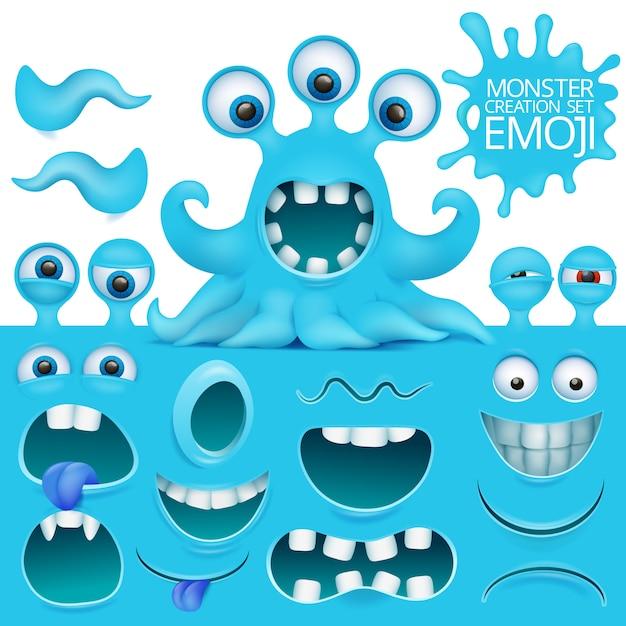 Lustiger krake emoji monster-charaktererstellungssatz. Premium Vektoren