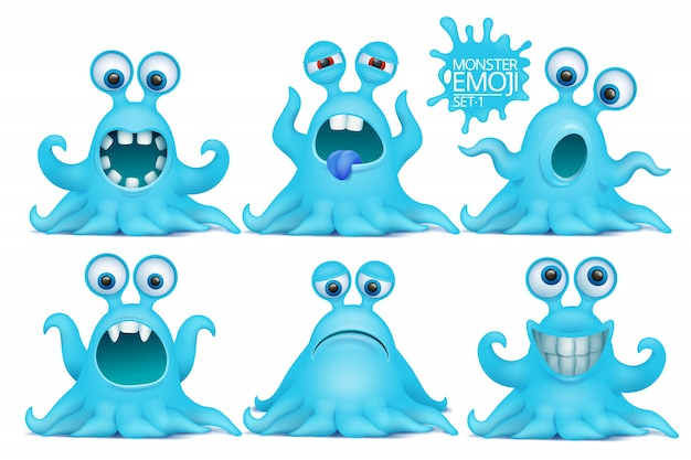 Lustiger krake emoji monsterzeichensatz. Premium Vektoren