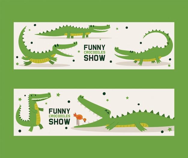 Lustiger krokodilshowsatz der fahnenvektorillustration. vogel, der im mund des alligators steht. tier in verschiedenen posen und aktivitäten, sitzend Premium Vektoren