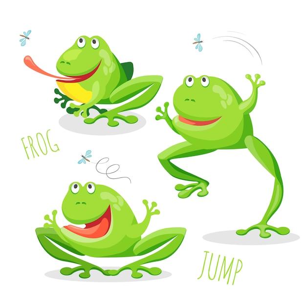 Lustiger lächelnder springender frosch Premium Vektoren