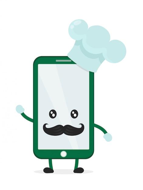 Lustiger niedlicher smartphone-telefonkoch in haube und schnurrbart. auf weißem hintergrund lokalisiert. aufruf des lebensmittelkonzepts Premium Vektoren