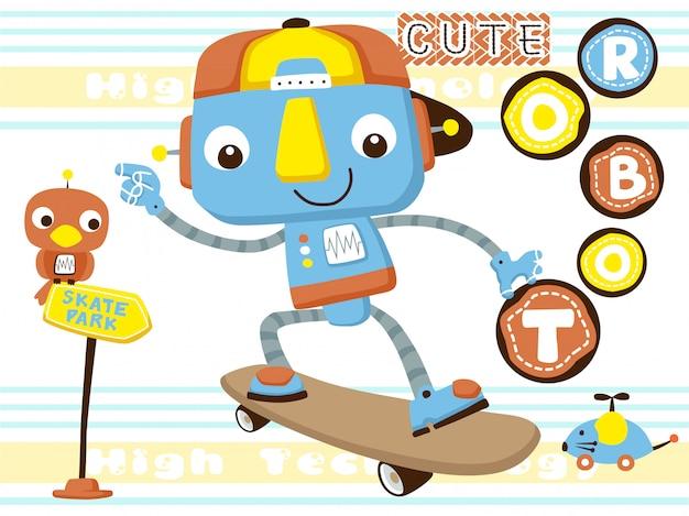 Lustiger roboter, der skateboard spielt Premium Vektoren