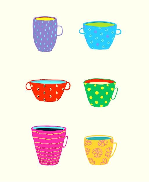 Lustiger satz geschirrbecherbecher für tee oder kaffee und andere getränke, buntes gekritzel. Premium Vektoren