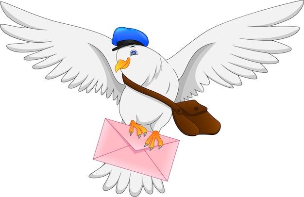 Lustiger taubenvogel der karikatur, der brief liefert Premium Vektoren