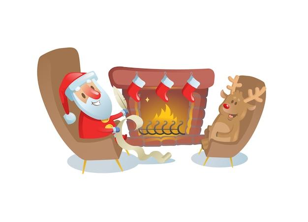 Lustiger weihnachtsmann, der mit seinem hirschfreund am kamin sitzt. bunte flache illustration. auf weißem hintergrund isoliert. Premium Vektoren