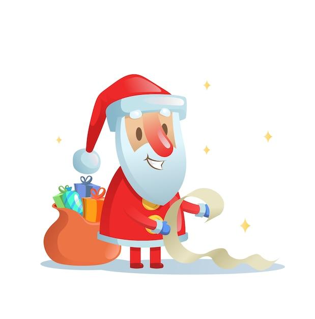 Lustiger weihnachtsmann, der seine liste überprüft. cartoon weihnachtskarte. bunte flache illustration. auf weißem hintergrund isoliert. Premium Vektoren