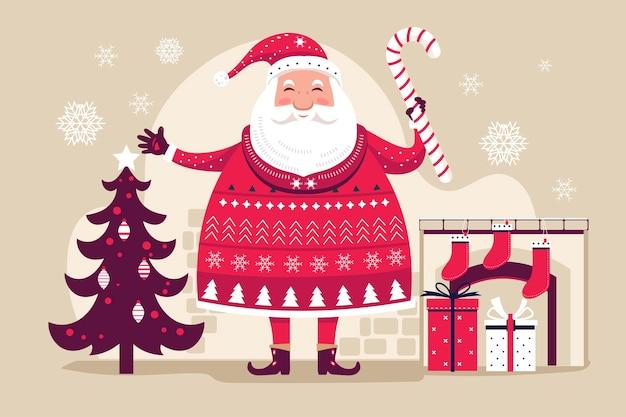 Lustiger weihnachtsmann halten weihnachtslutscher mit weihnachtselementhintergrund Premium Vektoren